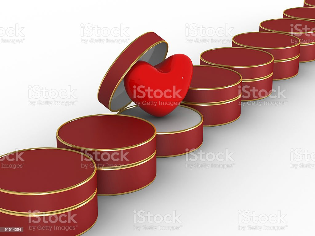 Heart in gift packing. Isolated 3D image royalty-free stock photo