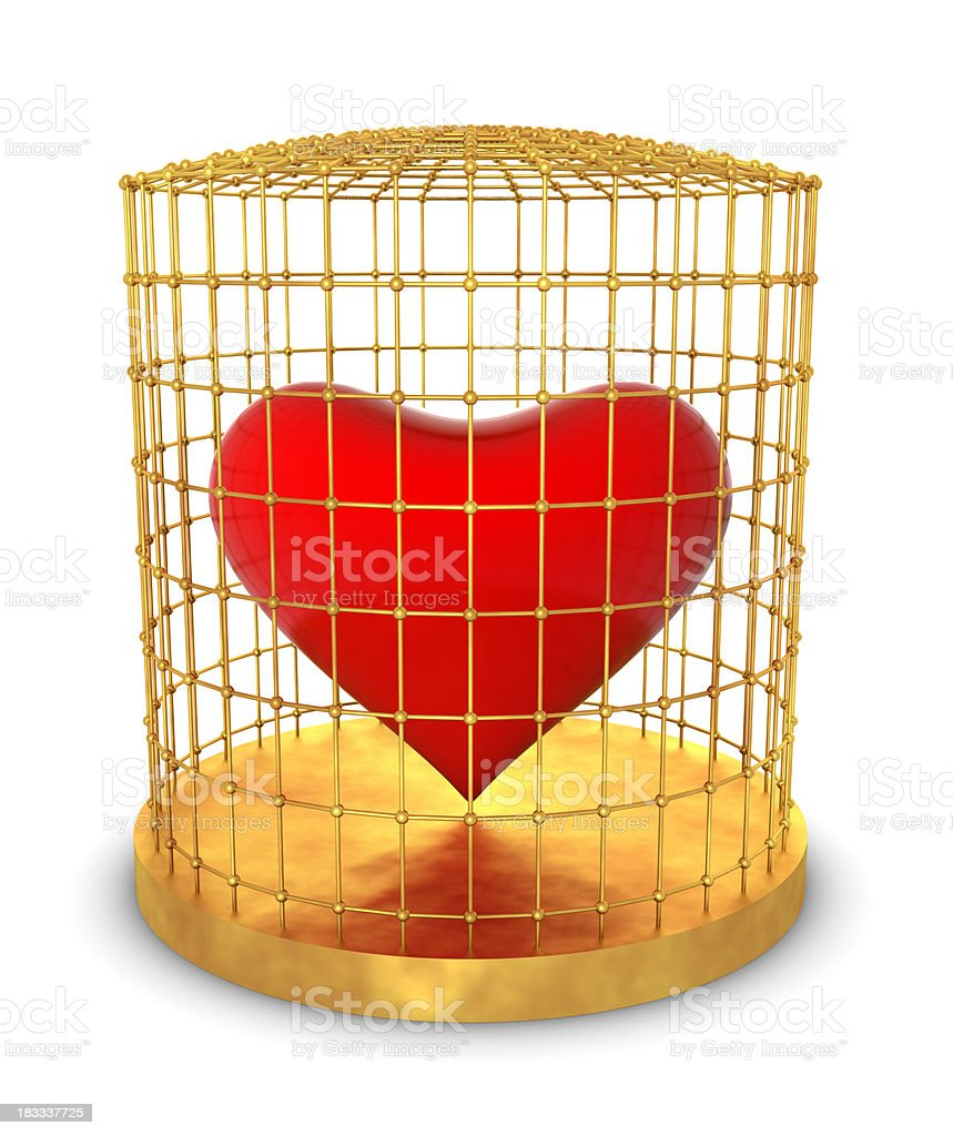 Heart in Gold Cage royalty-free stock photo