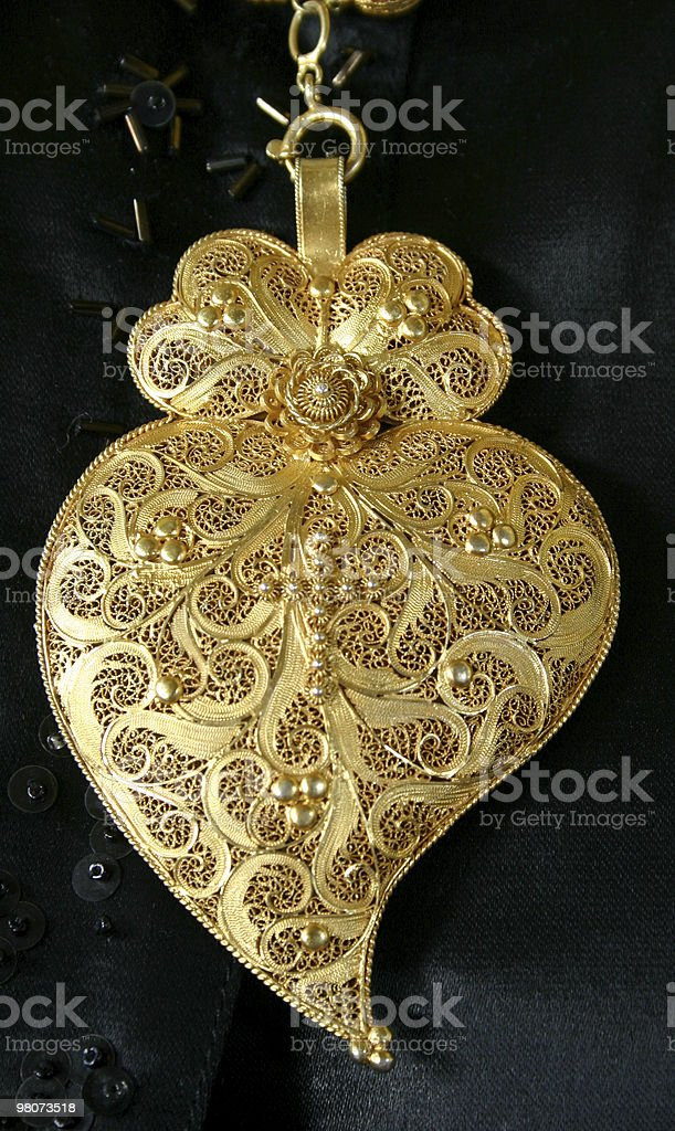 Heart in Gold Filigree royalty-free stock photo