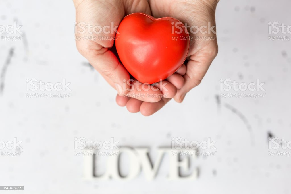 Heart in human ahnds, selective focus stock photo