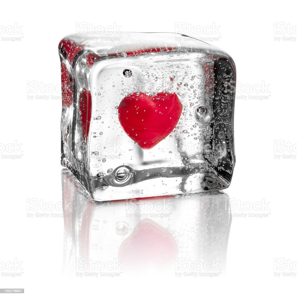 Heart In Ice Cube   Water Frozen Love Valentineu0027s Day Royalty Free Stock  Photo