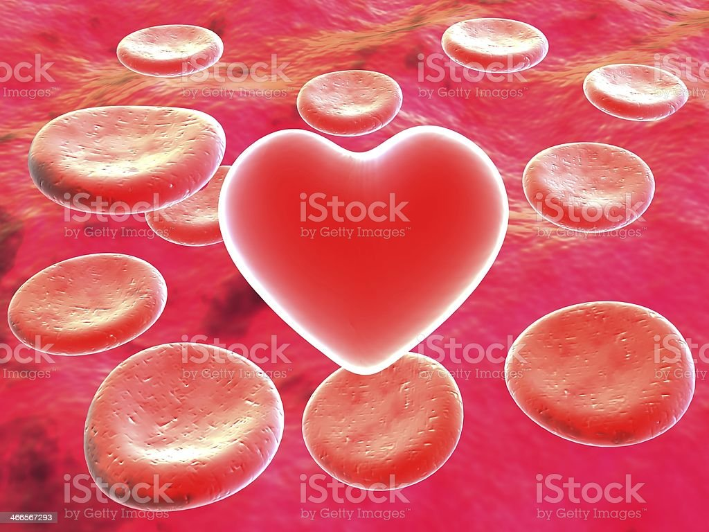 Heart in red blood cells royalty-free stock photo