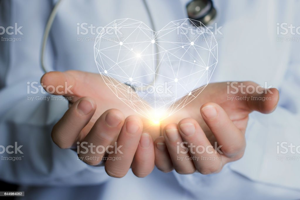 Heart in the hands of the doctor. stock photo