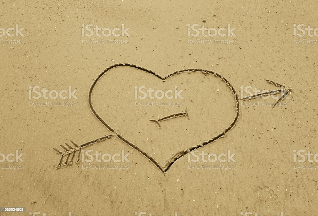 Heart in the sand royalty-free 스톡 사진