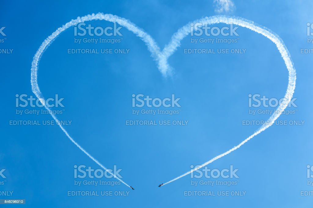 A heart in the sky from planes stock photo