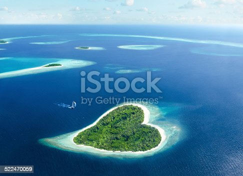 heart-shaped island in the tropical sea