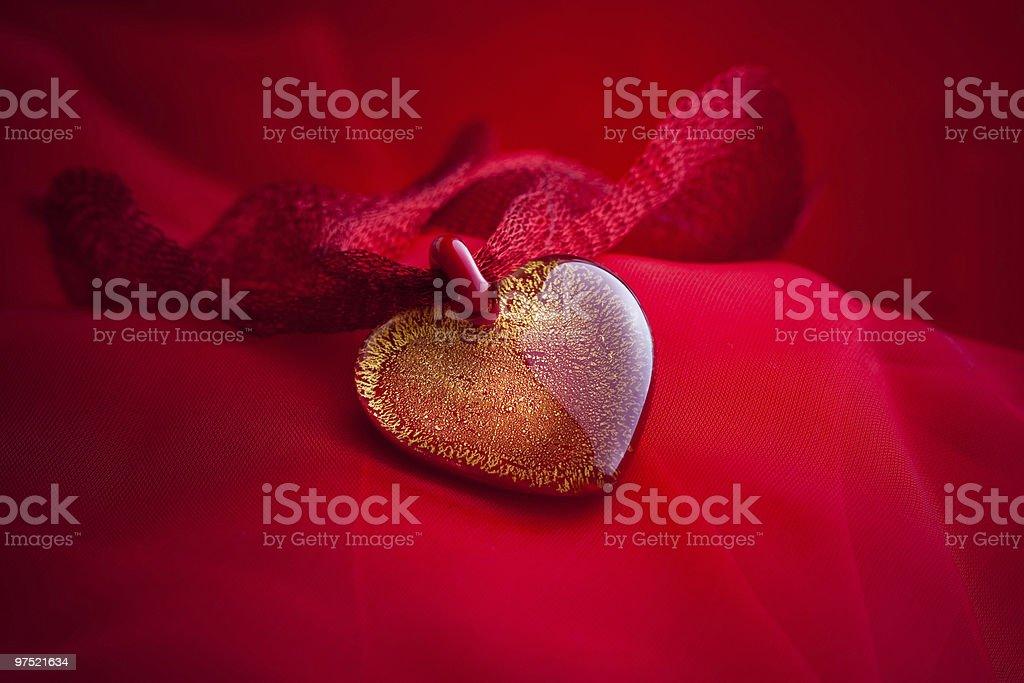 Heart jewelry handmade from glass stock photo