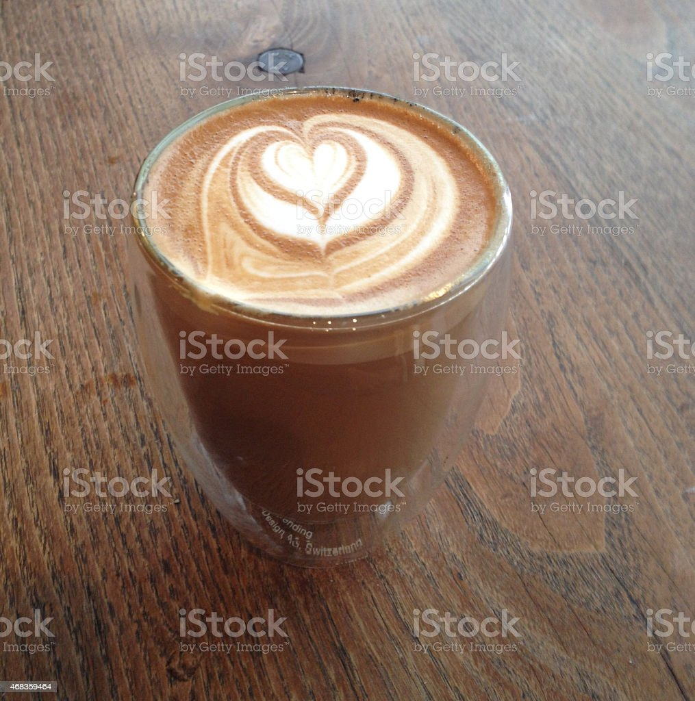 Heart Latte Wooden desk royalty-free stock photo