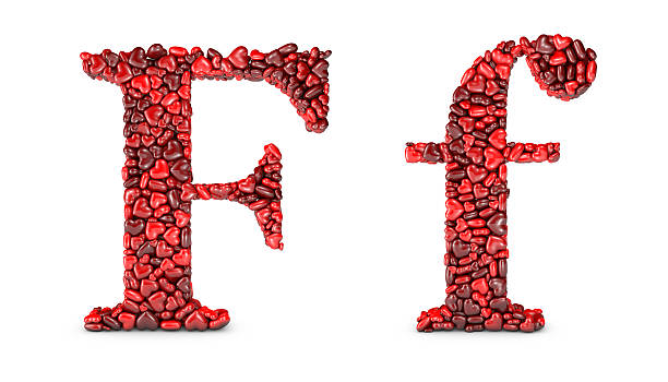 Heart Letter F Stock Photo
