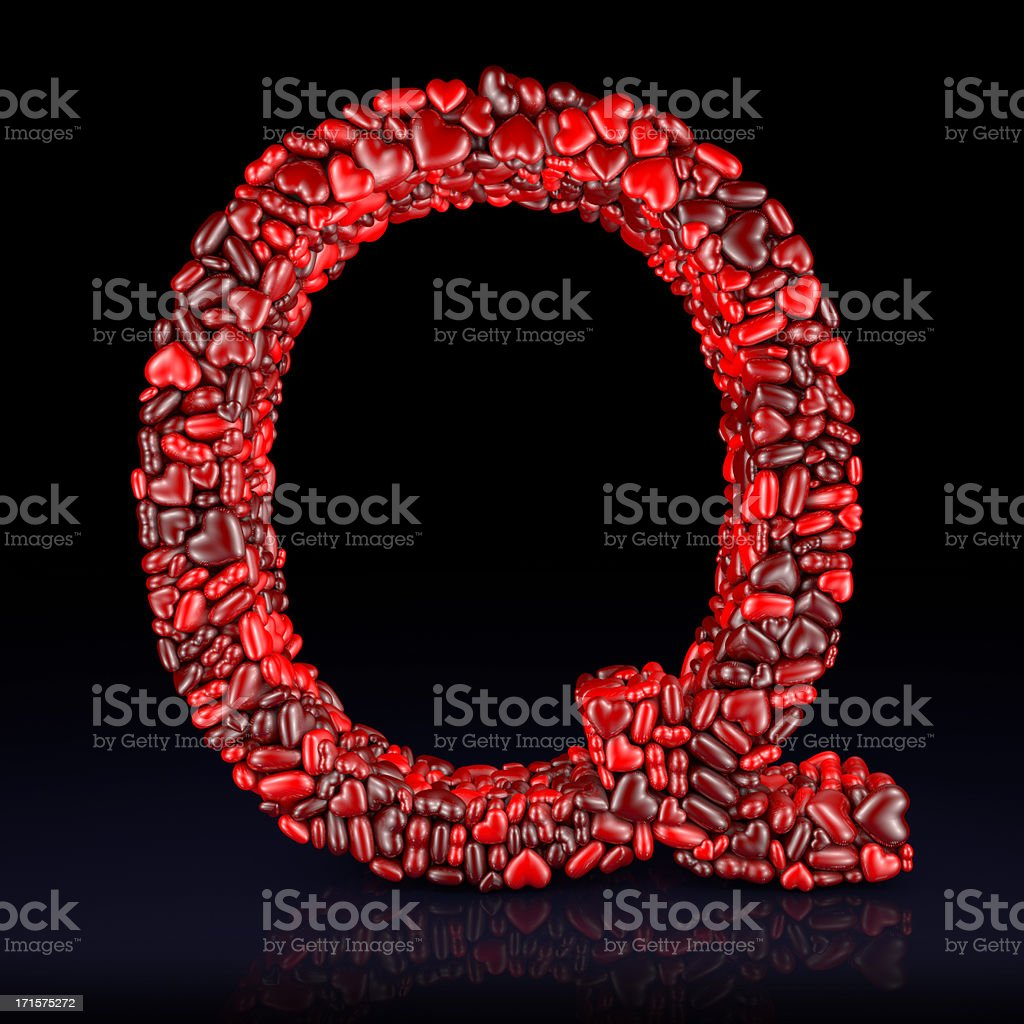 Heart Letter Q stock photo