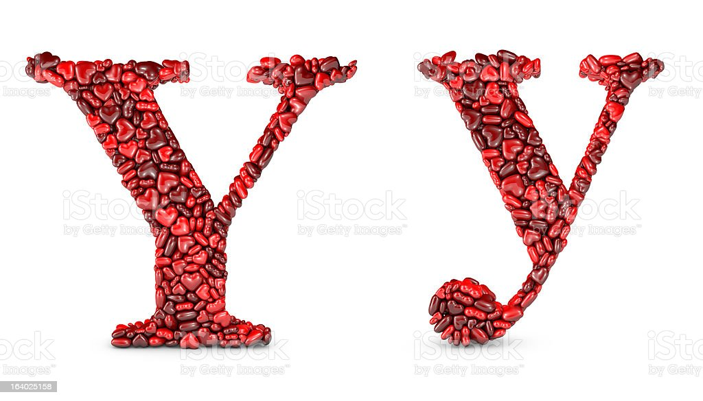 Heart Letter Y stock photo