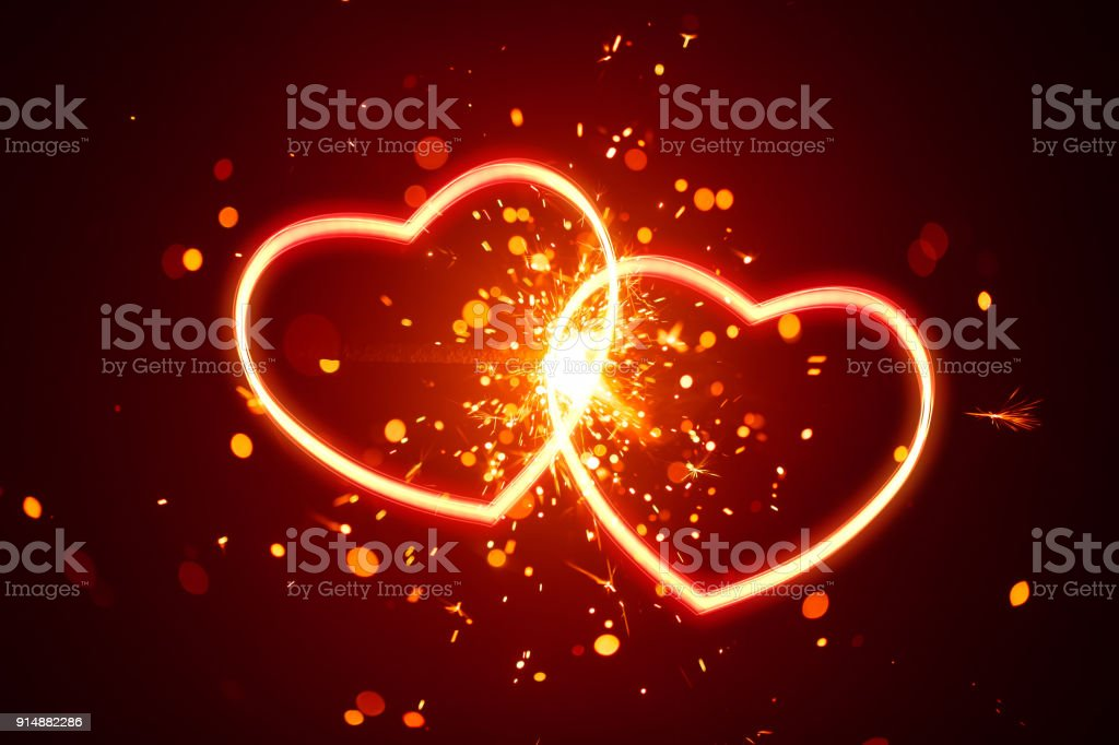 heart lights with sparks background - Royalty-free Abstract Stock Photo