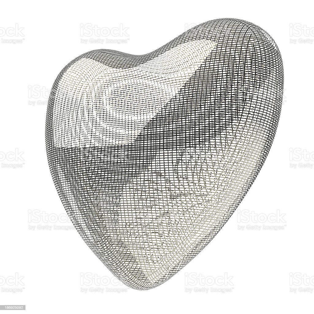 heart lines mesh 3d royalty-free stock photo