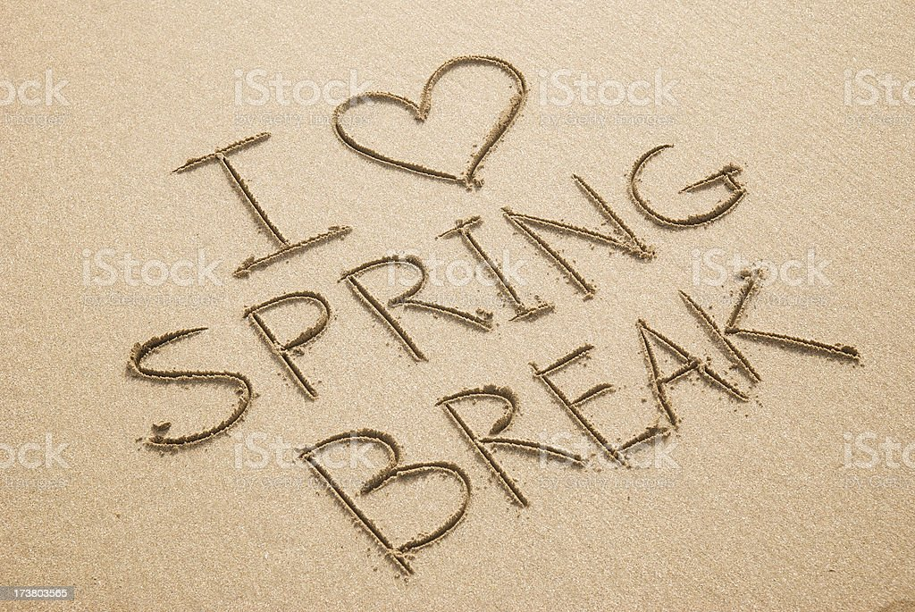 I Heart Love Spring Break Beach Sand Message royalty-free stock photo