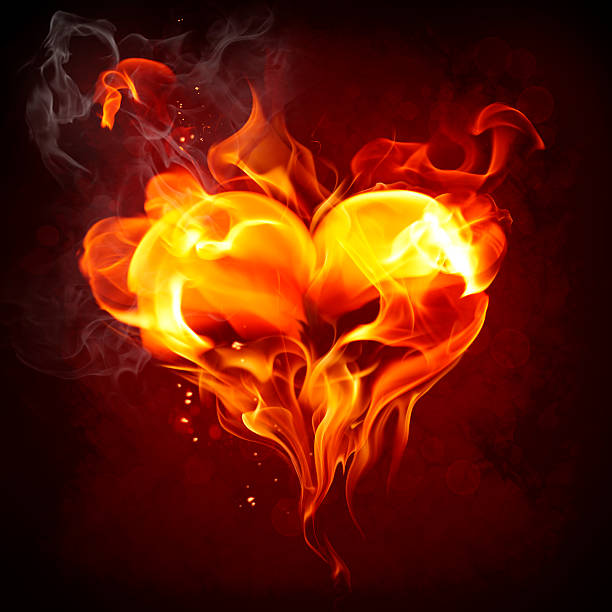 Heart made from orange and red flames stock photo
