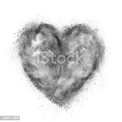 istock heart made of black powder explosion isolated on white 509511869