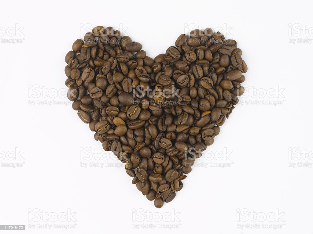 Heart made of coffee beans royalty-free stock photo
