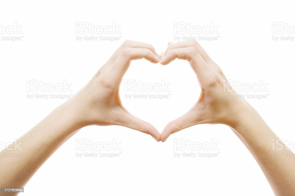 heart made of girl's hands stock photo