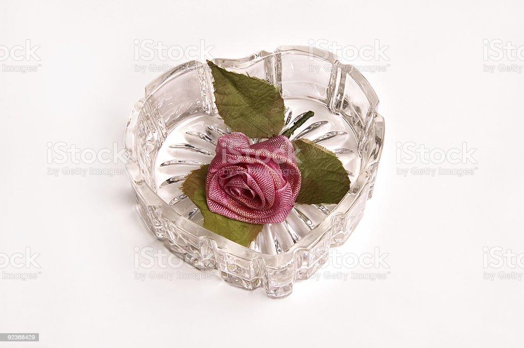 Herz aus Glas und Blumen Lizenzfreies stock-foto