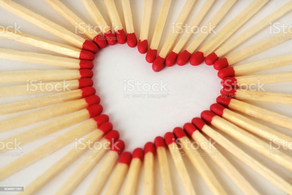 Heart made of matches - Love concept stock photo