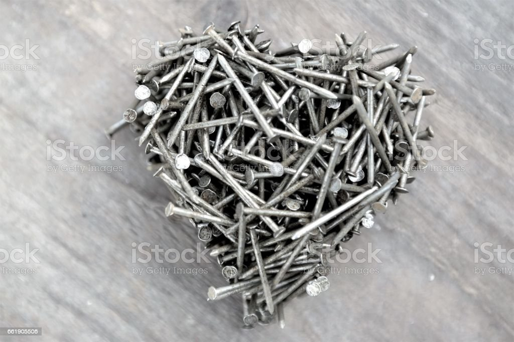 Heart Made Of Nails For Fathers Day Stock Photo & More Pictures of ...