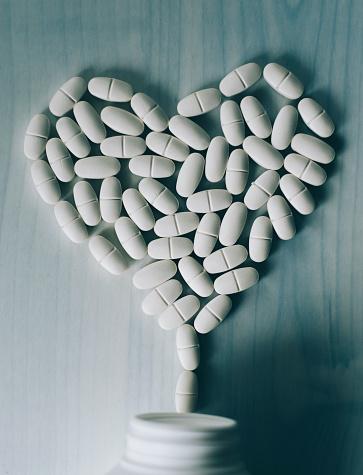 A heart made of pills
