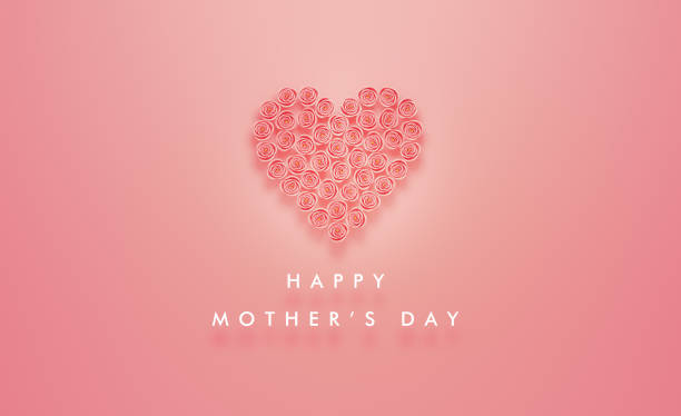 heart made of pink roses sitting next to happy mother's day message on pink background - mothers day stock pictures, royalty-free photos & images
