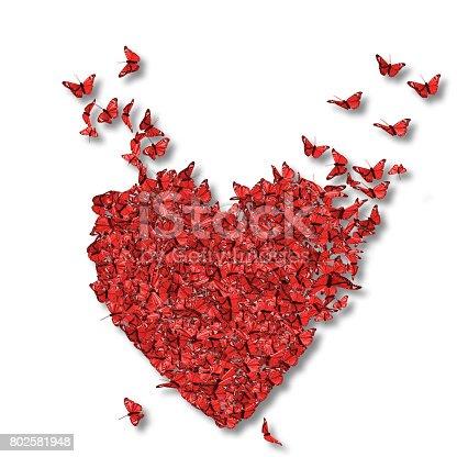 Heart made of Red Butterflies