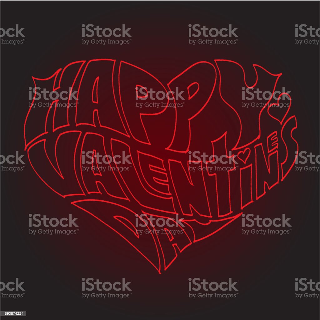 Heart Made of Text Happy Valentines day stock photo