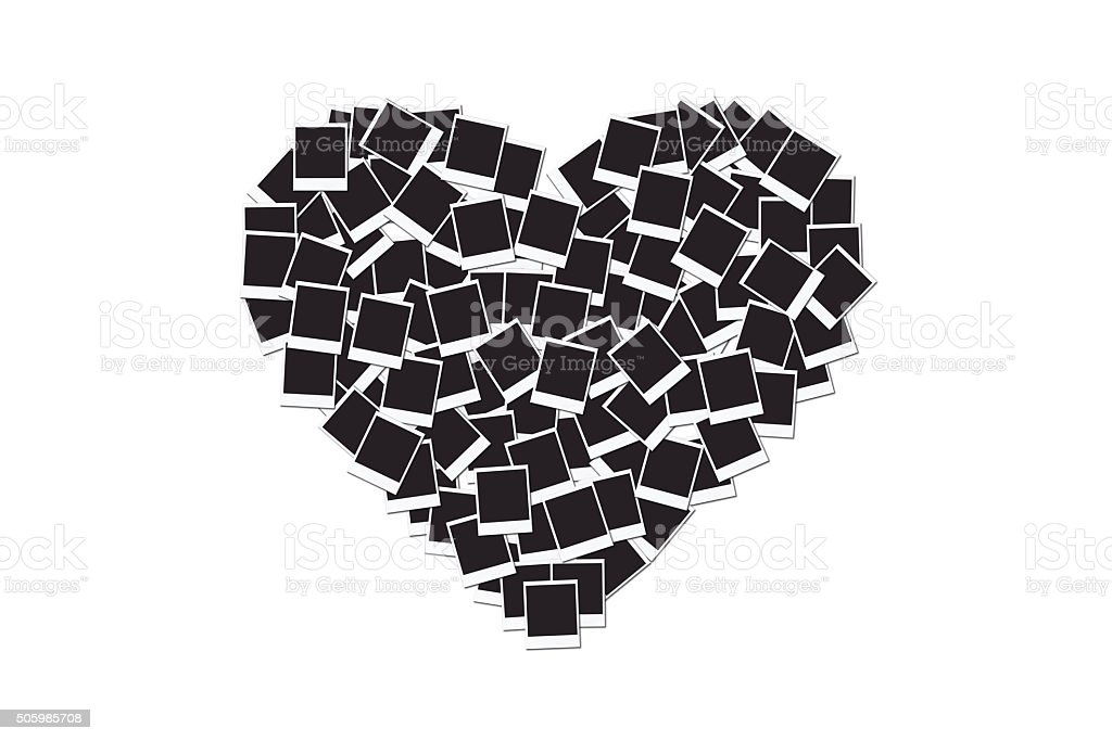Heart made with blank instant photo frames, on white stock photo