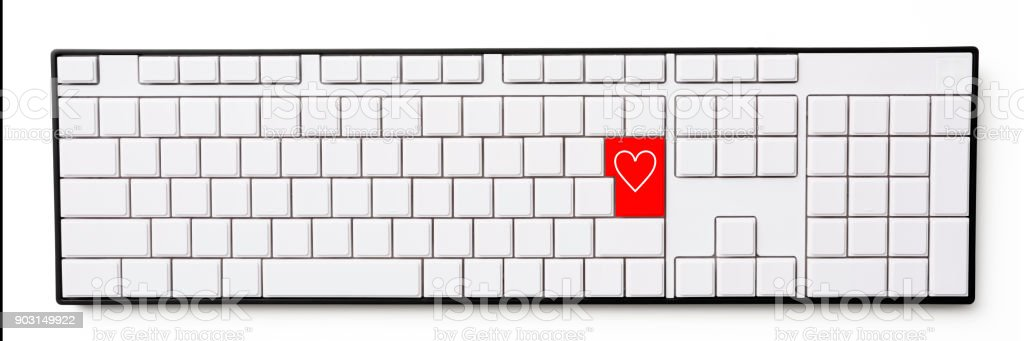 Heart Mark Red Enter Key Of Blank Computer Keyboard On White