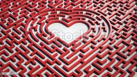 istock Heart maze, 3d isolated illustration 870982574