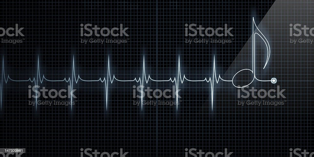 Heart monitor display ending in music note stock photo