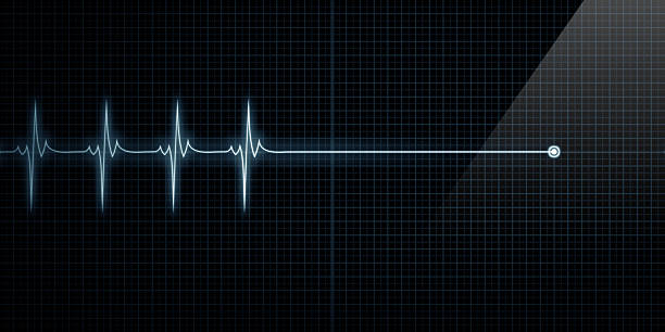 Heart Monitor Flat Line Death Horizontal Pulse Trace Heart Monitor At Death dead stock pictures, royalty-free photos & images