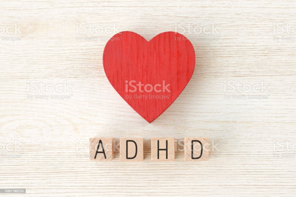 Heart object and ADHD logos Heart object and ADHD logos Adversity Stock Photo