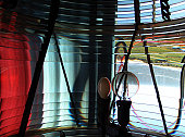 Spinning Fresnel Lens housing in Cape Blanco Lighthouse tower