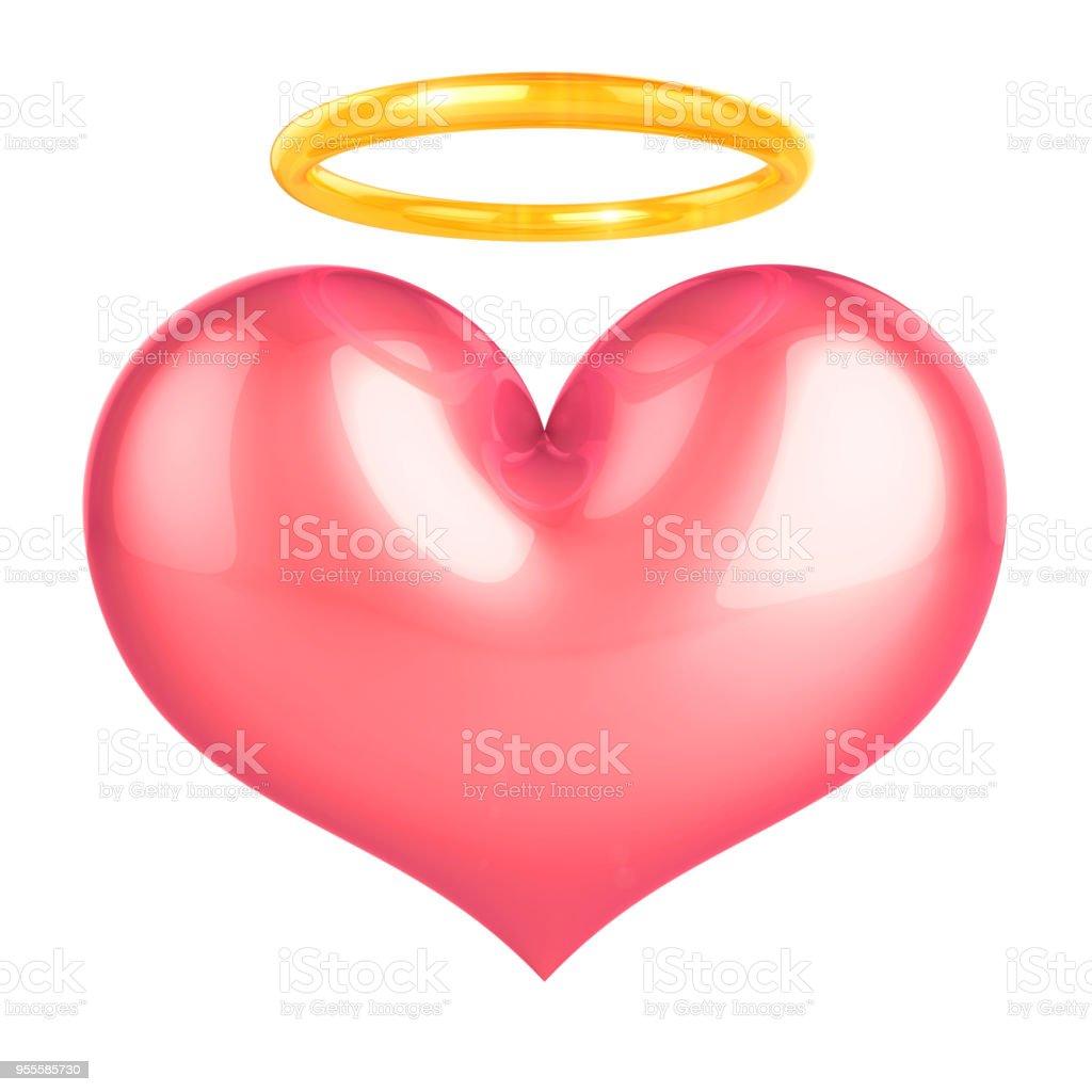 Heart of Angel pink love symbol stock photo