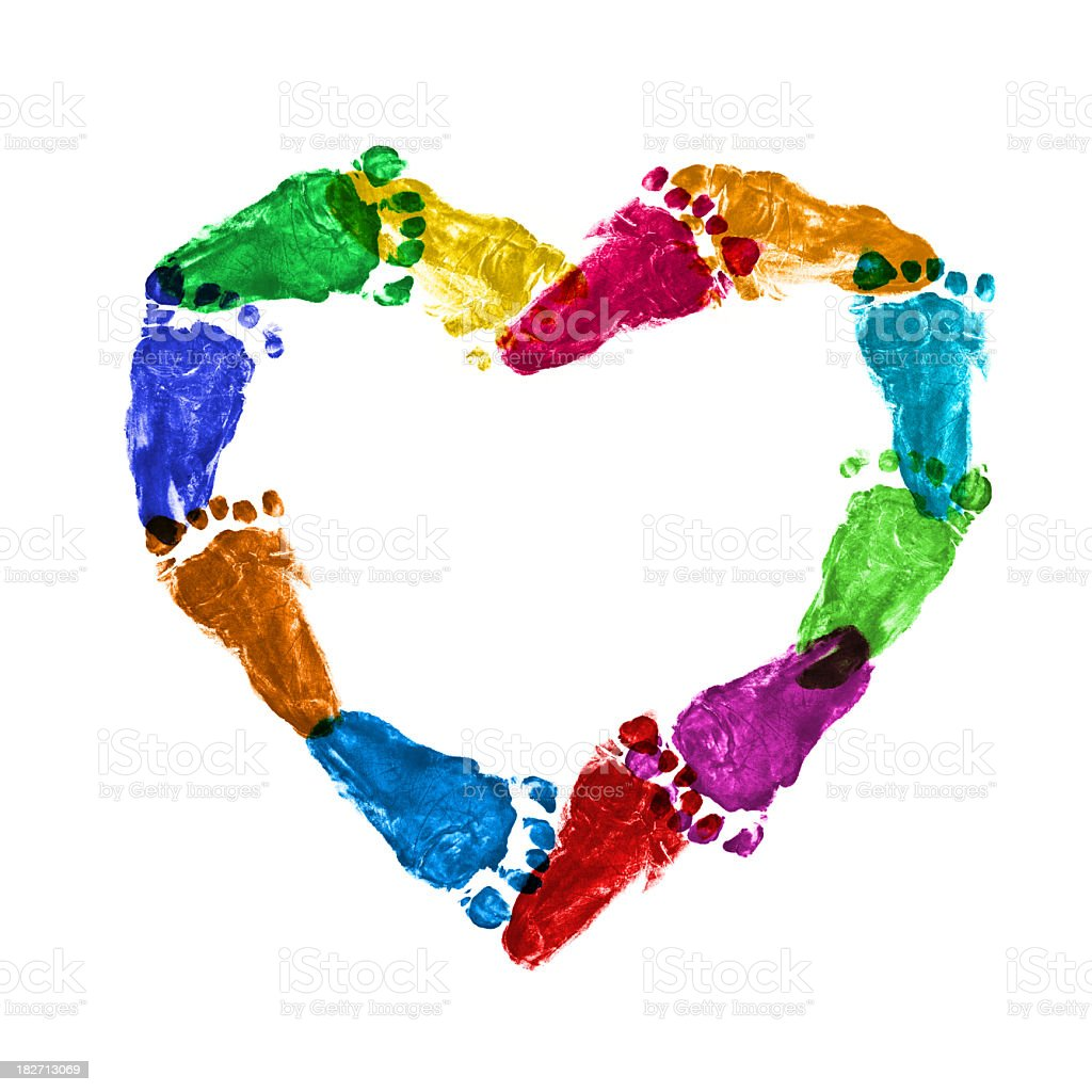 Heart of baby footprint stock photo