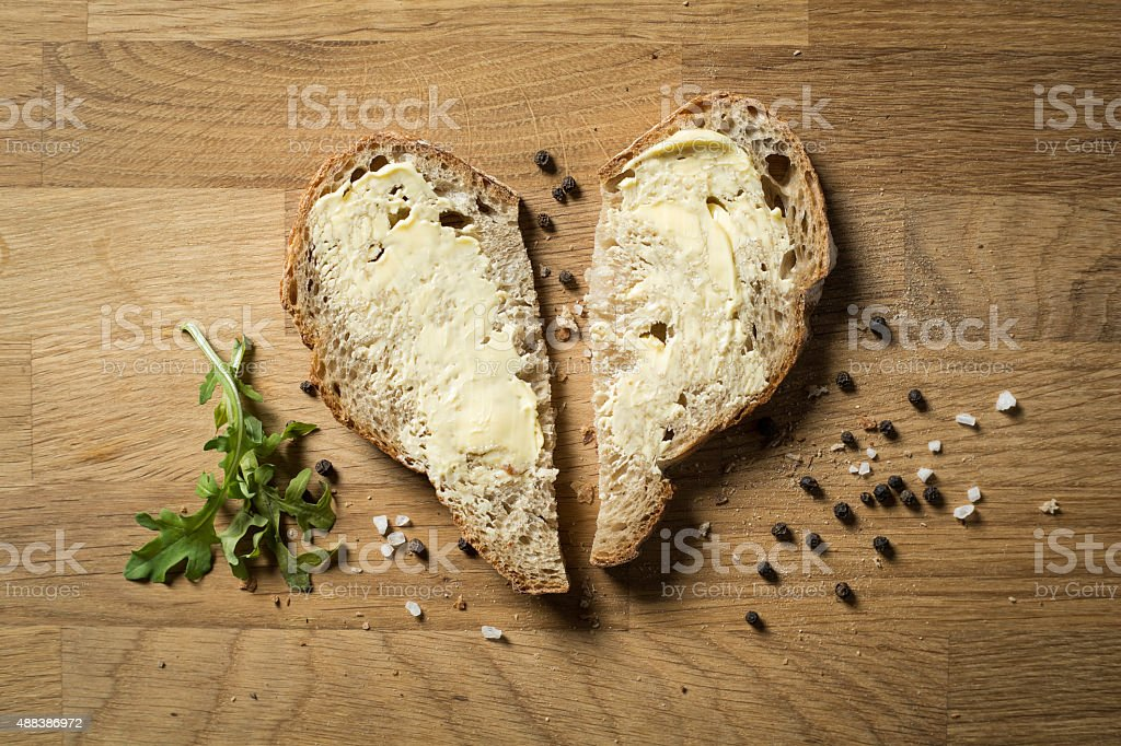 heart of bread stock photo