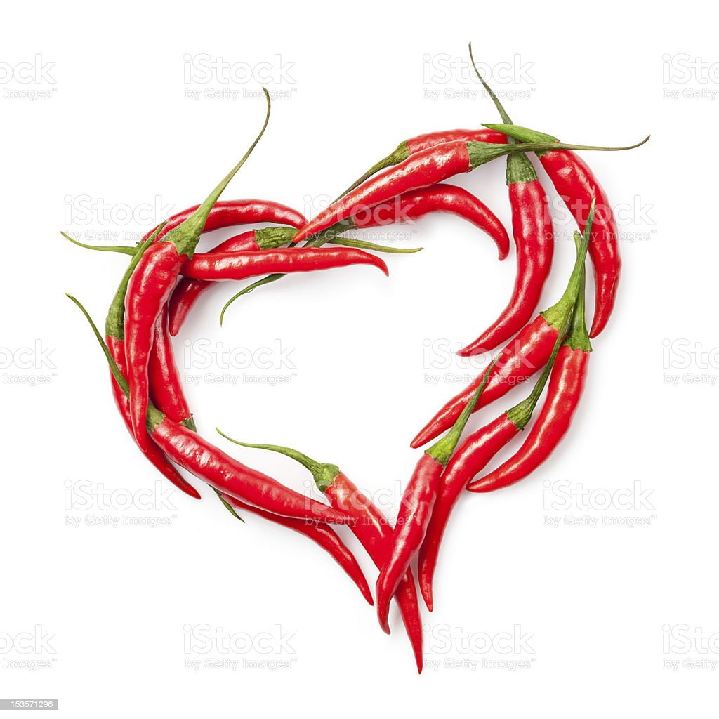 heart of chili pepper isolated on white royalty-free stock photo
