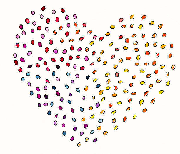 Heart of colorful dots stock photo