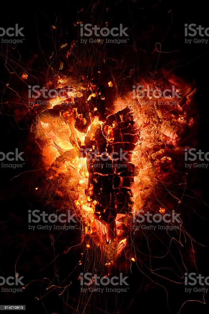 Heart of Fire and Embers stock photo