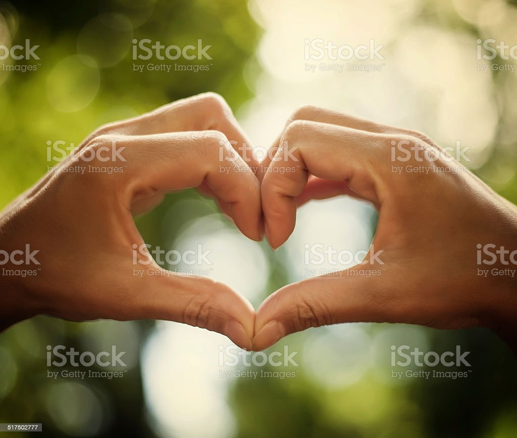 heart of human hands as symbol of love stock photo
