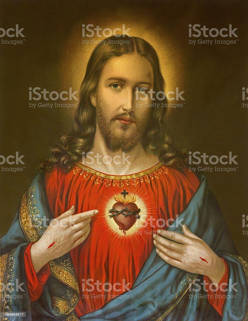 heart of Jesus Christ - typical catholic image stock photo