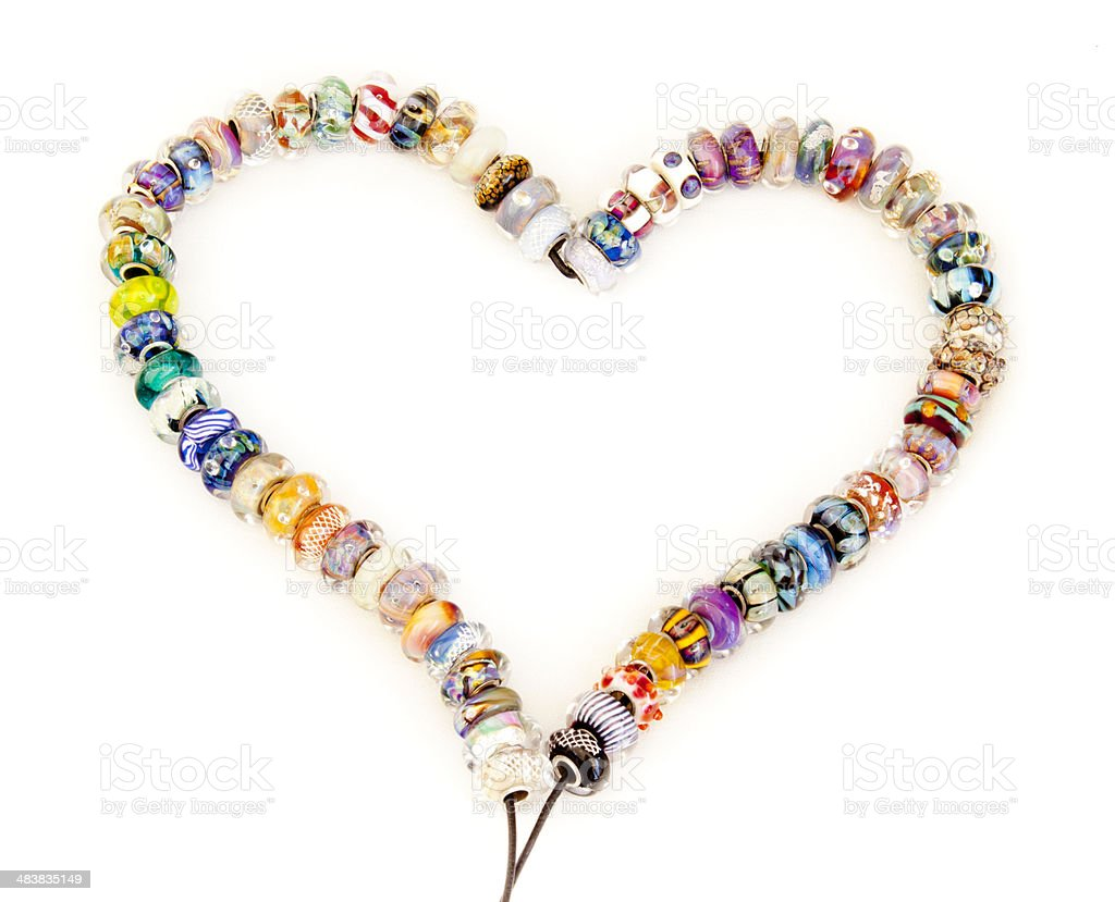 Heart of lampwork beads. royalty-free stock photo