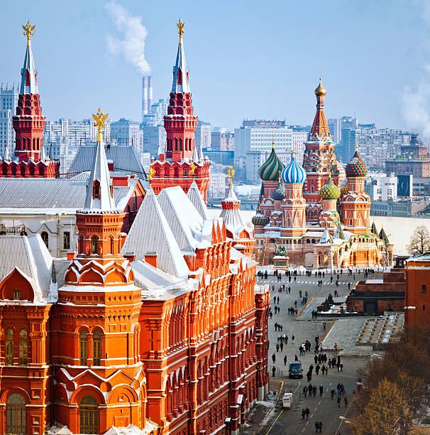 Heart of Moscow Historical Museum, St.Basil Cathedral, Red Square in Moscow. View from top of the Ritz-Carlton hotel. moscow russia stock pictures, royalty-free photos & images