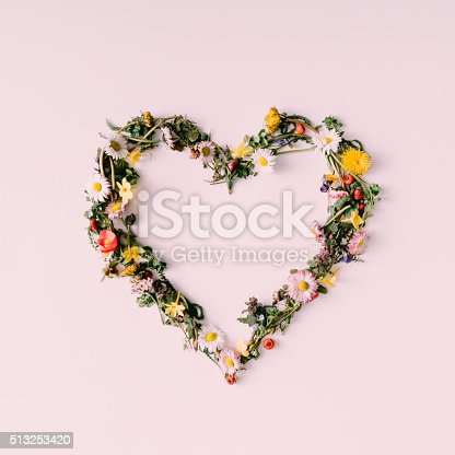 istock Heart of nature. Love concept. Flat lay. 513253420
