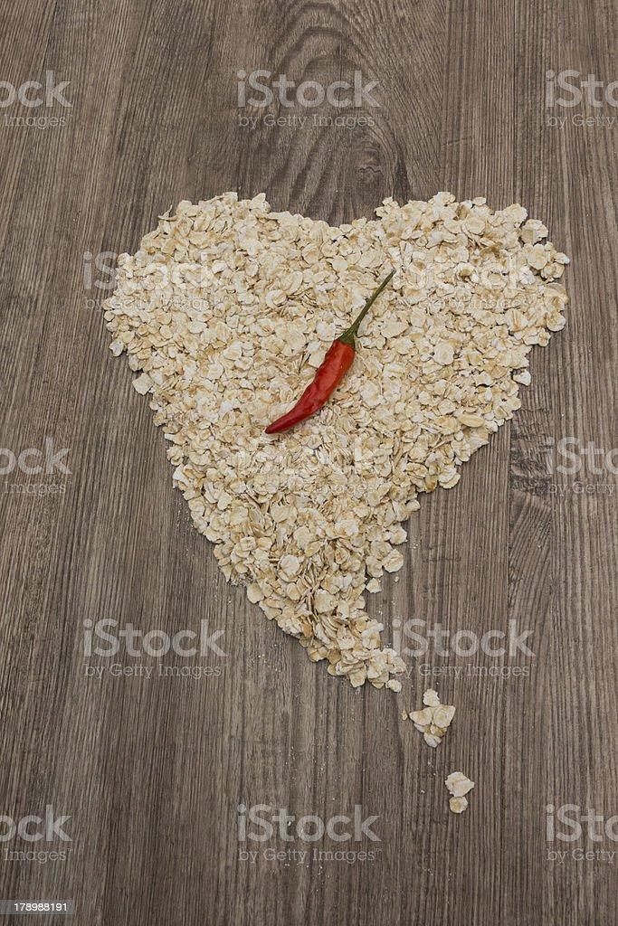 Heart of oat flakes royalty-free stock photo