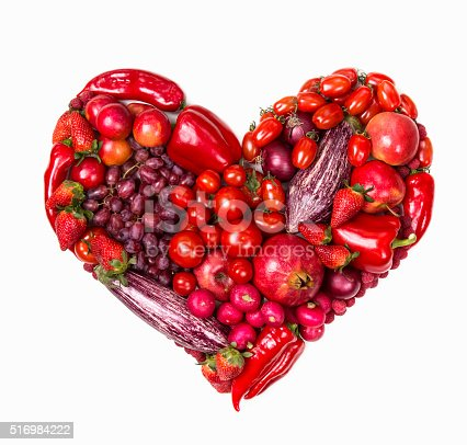 istock Heart of red fruits and vegetables 516984222
