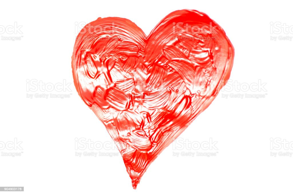 Heart of red paint stock photo